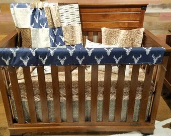 2 Day Ship Baby Boy Crib Bedding - Navy Antlers, Brown Trout, Ecru Tribal Arrows, Fawn Minky, and Brown Minky, Buck and Trout Baby Bedding