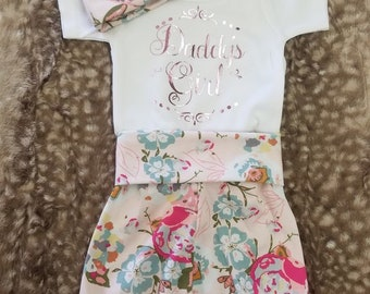 2 Day Ship - Baby Going Home Outfit - Daddy's Girl with Blush floral Pants and Hat