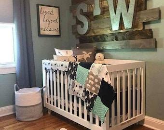 2 Day Ship -Woodland Boy Crib Bedding- Boy Baby Bedding Navy Buck, Moose, Arrow Bear, Fletching Arrow, Mint, and Navy, Woodland