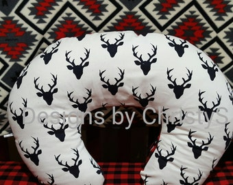 Nursing Pillow Cover - Buck Black and Minky Boppy Cover - Deer, Stag, Woodland, Ready to Ship