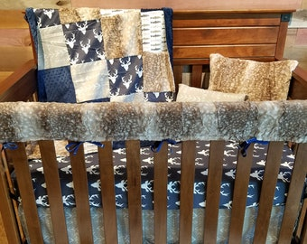 Boy Crib Bedding - Navy Buck, Brown Trout, Ecru Tribal Arrows, Fawn Minky, and Navy Minky, Buck and Trout Nursery Set