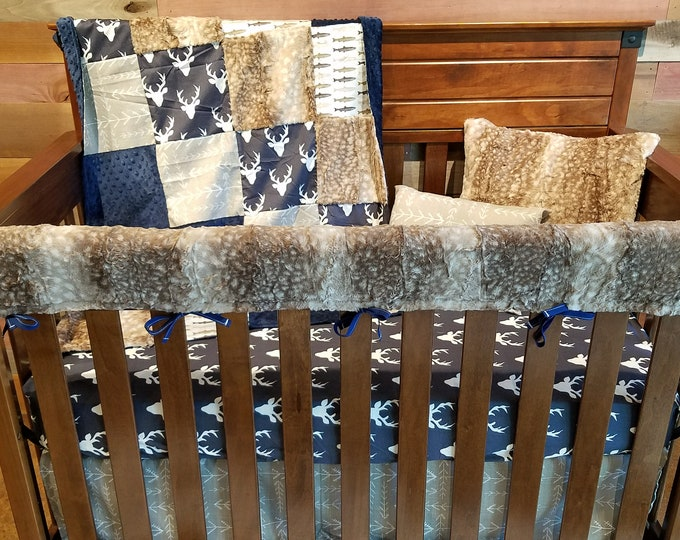 Featured listing image: 2 Day Ship -Boy Crib Bedding - Navy Buck, Brown Trout, Ecru Tribal Arrows, Fawn Minky, and Navy Minky, Buck and Trout Nursery Set