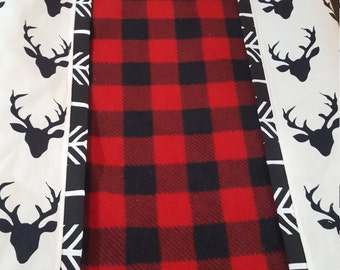 2 Day Ship - Deluxe Lodge Baby Contour Changing Pad Cover- Red Black Buffalo Check center with Black Buck and Black Arrow Trim