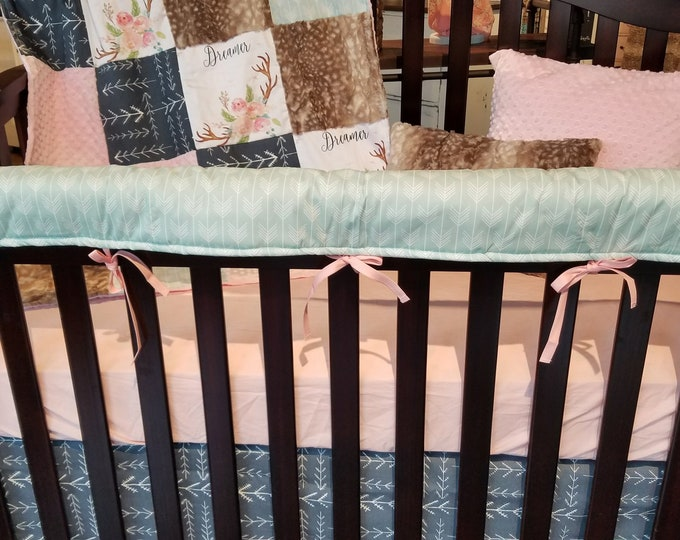 Featured listing image: Baby Girl Crib Bedding - Dreamer Antlers, Navy Tribal Arrows, Fawn Minky, Aspen Arrows, and Blush Minky, Dreamer Antlers Nursery Set