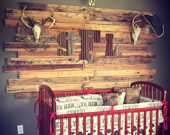 Cowboy Crib Bedding - Brown Cowboy, Pony Minky, and Red Chevron, Cowboy Nursery Set