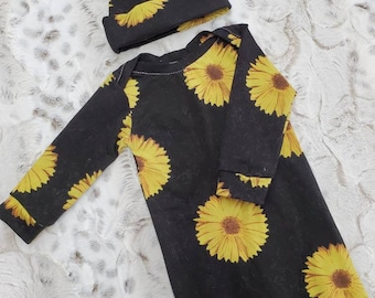 2 Day Ship - Going Home Gown - Sunflower infant gown