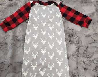 2 Day Ship - Going Home Gown - Red Black Buffalo Check and Gray Buck infant gown