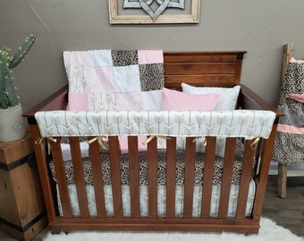 2 Day Ship - Baby Girl Crib Bedding - Cheetah Minky, Gold Arrow, Blush Damask Baby Bedding