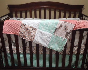 Girl Crib Bedding - Tulip Fawn, Feathers, Mint Arrow, and Coral, Fawn Deer Nursery Set