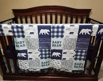 Baby Bear Patchwork Print Baby Blanket or Quilted Comforter- Bear, Pine tree, Lodge, Check, Wood, Blue, Gray