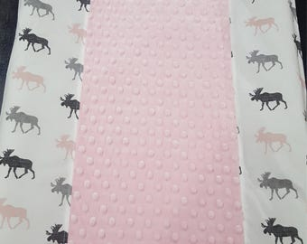Moose Contour Changing Pad Cover - Moose, Light Pink, Gray