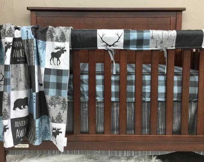 Featured listing image: Boy Crib Bedding - Adventure Awaits, Blue Gray Check, Gray Wood Grain, and Black Minky, Adventure Nursery Set