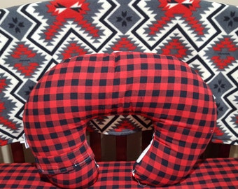 Nursing Pillow Cover -Lodge, Lumberjack  Red Black Buffalo Check and Minky Dot Boppy Cover