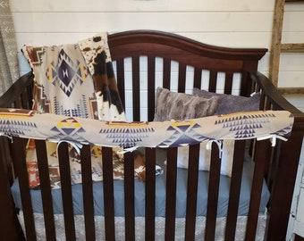 2 Week Ship Boy Crib Bedding - Tan Aztec Cow Nursery Collection - Cow Minky, Aztec, Arrow