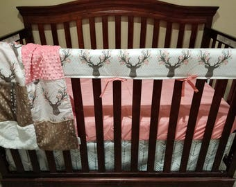 2 Day Ship - Girl Crib Bedding - Tulip Fawn, Deer Skin Minky, White Tan Arrow,Ivory Crushed Minky and Coral, Deer Baby Bedding