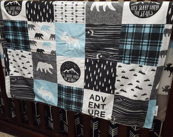 Adventure Moose Patchwork Baby Blanket or Quilted Comforter- Bear, Pine tree, Moose, Lodge, Check, Plaid, Mountain, Stars, Aqua, Gray