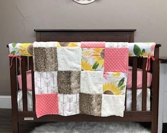 Baby Girl Crib Bedding - Sunflower Nursery Collection