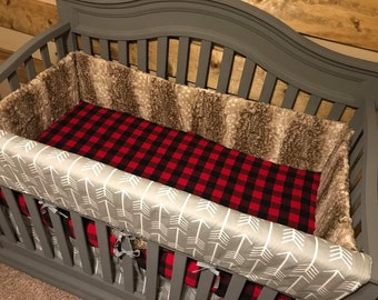 2 Day Ship Crib Bumper - Fawn Minky, Woodland, Nursery