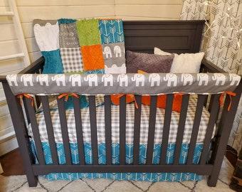 2 Day Ship - Boy Crib Bedding - Elephant, Arrows, Check, Elephant Nursery