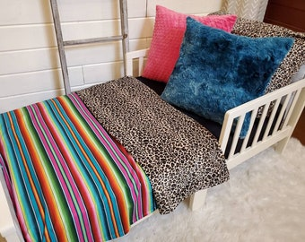 Toddler Bedding - Cheetah Minky and Serape