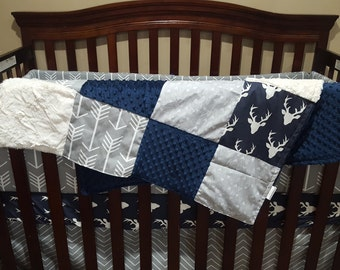 2 Day Ship - Boy Crib Bedding - Navy Buck, Gray Arrow, Gray Pinstripe Chevron, Navy Minky, and Ivory Crushed Minky, Deer Nursery Set