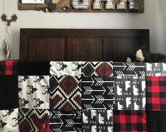 Boy Crib Bedding - Bear, Buck, Black Arrow, Aztec, Red Black Check , and Black Minky, Woodland Nursery Set