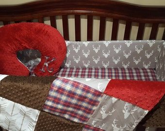 2 Day Ship Baby Boy Crib Bedding - Buck Deer, White Tan Arrows, Lodge Red Navy Plaid, Crimson Minky, and Brown Minky Crib Bedding