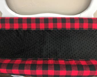 2 Day Ship - Deluxe Changing Pad Cover- Red Black Buffalo Check and Minky