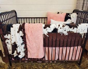 2 Day Ship- Girl Crib Bedding - Cow Minky Farm Nursery Set