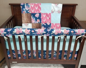 Girl Crib Bedding - Navy Coral Floral, Pink Buck, Deer Skin Minky, Floral Antlers, and Saltwater minky, Navy Coral Floral Nursery Set