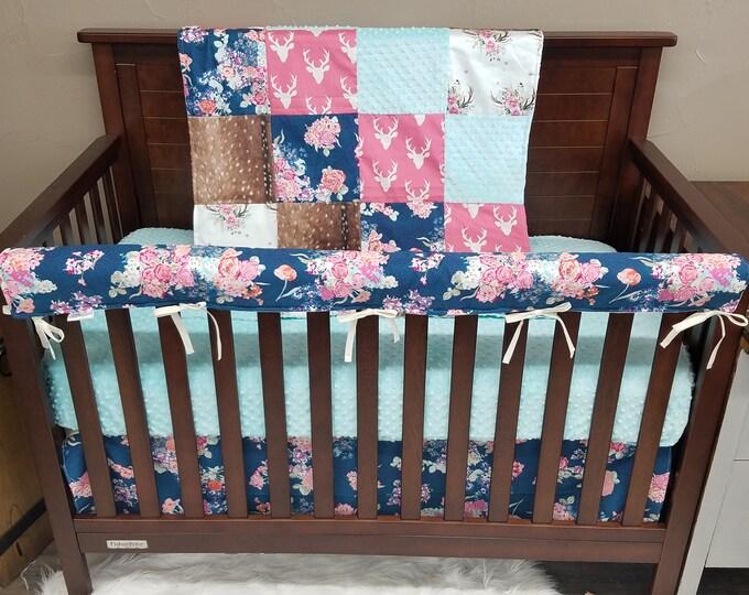 Featured listing image: Girl Crib Bedding - Navy Coral Floral, Pink Buck, Deer Skin Minky, Floral Antlers, and Saltwater minky, Navy Coral Floral Nursery Set