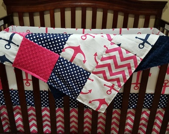 Nautical Girl Crib Bedding - Pink Anchors, Navy Dot, Pink Chevron, and Navy Anchor, Nautical Nursery Set