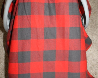 2 Day Ship - Red Buffalo Check Carseat Canopy, Tent