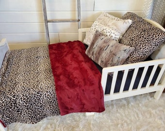 Toddler Bedding - Cheetah Minky and Wine Hide Minky
