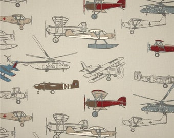 Vintage Airplane Curtain Panels or Valance