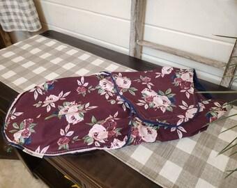 Swaddle Blanket - Maroon Flowers