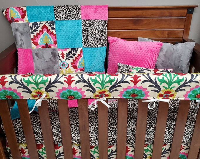Featured listing image: 2 Day Ship - Girl Crib Bedding - Bright Damask and Cheetah Nursery Collection