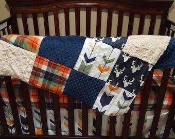 Boy Crib Bedding - Navy Buck, Orange Navy Plaid, Navy Orange Fletching Arrow, Navy Minky, and Ivory Crushed, Buck Nursery Set