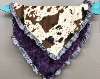 Soft Minky Blanket with Ruffle Edge - Cow Minky and Plum Galaxy Minky with Gray Satin Ruffle