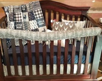 Boy Crib Bedding - Little Man Deer, Gray Arrow, and Navy, Little Man Nursery Set