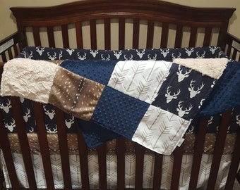 2 Week Ship - Boy Crib Bedding- Navy Buck, Deer Skin Minky, White Tan Arrow, Ivory Crushed Minky, and Navy, Woodland Nursery Collection