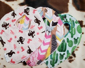 Baby Bibs - Cowgirl, Feather, and Cactus Deluxe Minky backed bibs