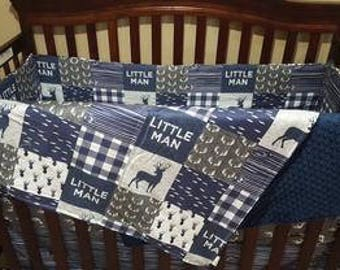 Baby Boy Crib Bedding - Little Man Deer, Gray Antlers, Navy Wood Grain, and Navy Minky Crib Baby Bedding Ensemble