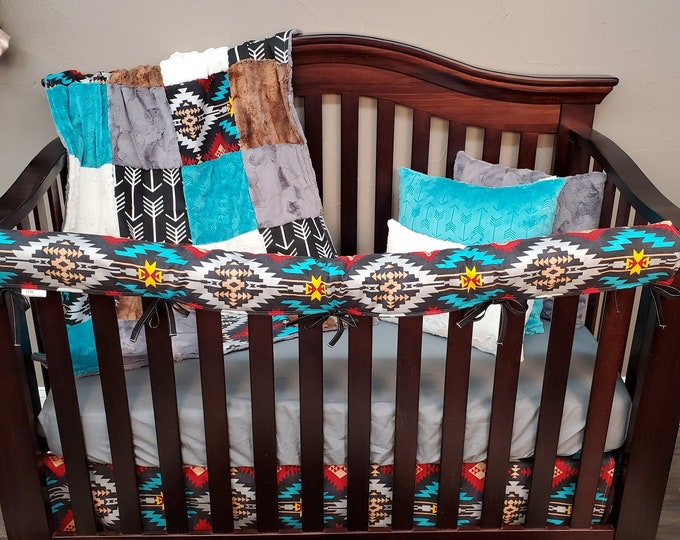 Featured listing image: 2 Day Ship -Boy Crib Bedding - Aztec and Fox Nursery Collection