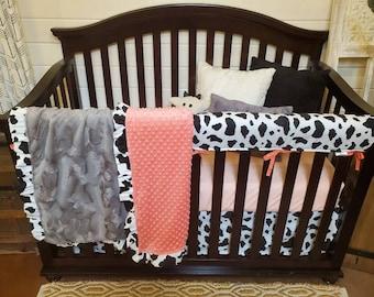 2 Day Ship- Girl Crib Bedding - Cow Nursery Set