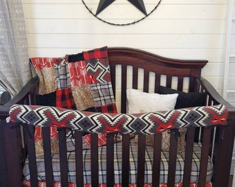 2 Day Ship - Boy Crib Bedding - Red Arrows, Aztec, Red Black Check, Fawn Minky, and Black, Woodland Nursery Set