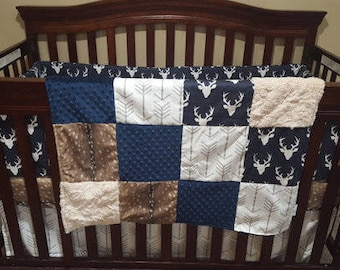 Patchwork Blanket- Deer Skin Minky, Navy Buck, Ivory Crushed Minky White Tan Arrow, and Navy Minky Patchwork Blanket