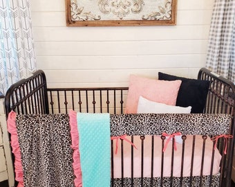 2 Day Ship - Girl Crib Bedding - Cheetah and Coral Nursery Collection