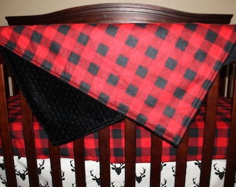 Mountain Lodge Red Black Buffalo Check and Minky Blanket- Hunting, Lodge, Plaid