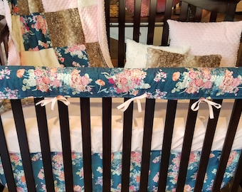 2 Day Ship - Baby Girl Crib Bedding - Navy Coral Floral, Fawn Minky, Blush, and Ivory, Navy Coral Floral Baby Bedding